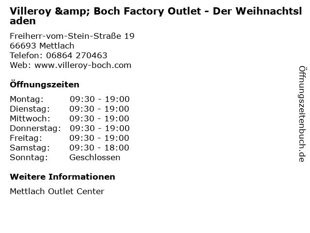 Villeroy & Boch Factory Outlet - Der Weihnachtsladen in Mettlach: Adresse und Öffnungszeiten