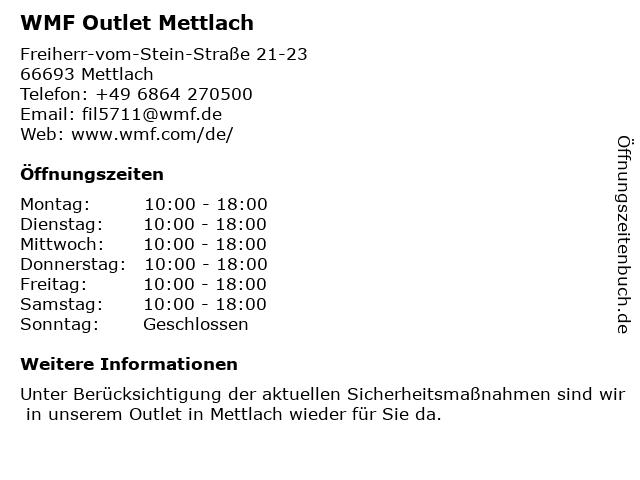 WMF Outlet Mettlach in Mettlach: Adresse und Öffnungszeiten