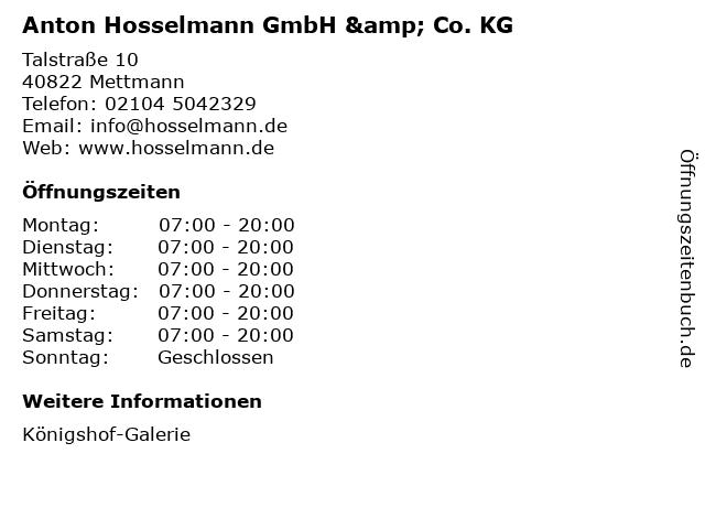 Anton Hosselmann GmbH & Co. KG in Mettmann: Adresse und Öffnungszeiten
