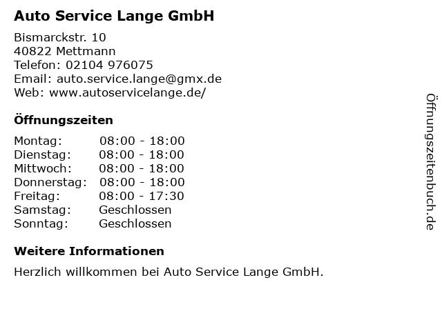 Auto-Service Lange GbR in Mettmann: Adresse und Öffnungszeiten