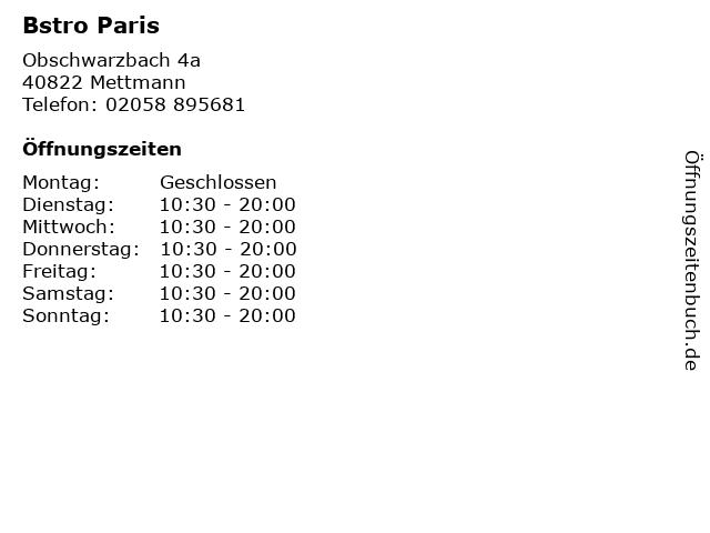 Bstro Paris in Mettmann: Adresse und Öffnungszeiten