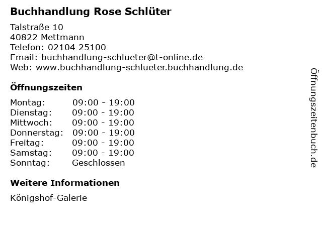 Buchhandlung Rose Schlüter in Mettmann: Adresse und Öffnungszeiten