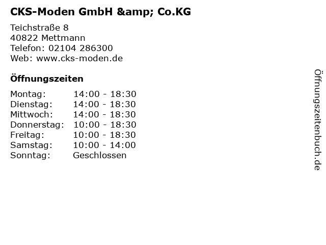 CKS-Moden GmbH & Co.KG in Mettmann: Adresse und Öffnungszeiten