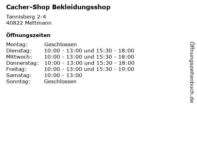 Cacher-Shop Bekleidungsshop in Mettmann: Adresse und Öffnungszeiten