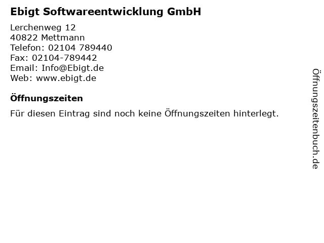 Ebigt Softwareentwicklung GmbH in Mettmann: Adresse und Öffnungszeiten