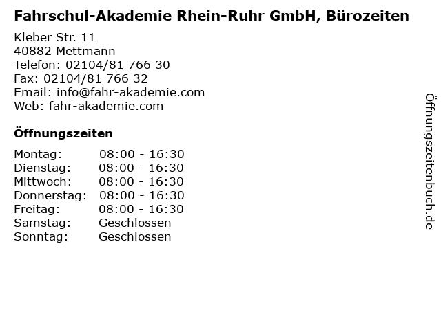 Fahrschul-Akademie Rhein-Ruhr GmbH, Bürozeiten in Mettmann: Adresse und Öffnungszeiten