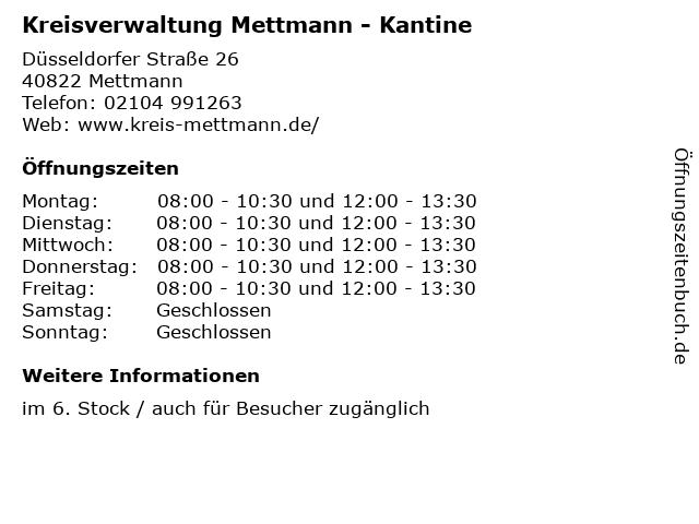 Kreisverwaltung Mettmann - Kantine in Mettmann: Adresse und Öffnungszeiten
