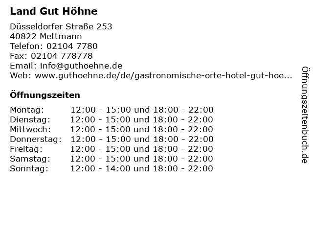 Land Gut Höhne in Mettmann: Adresse und Öffnungszeiten