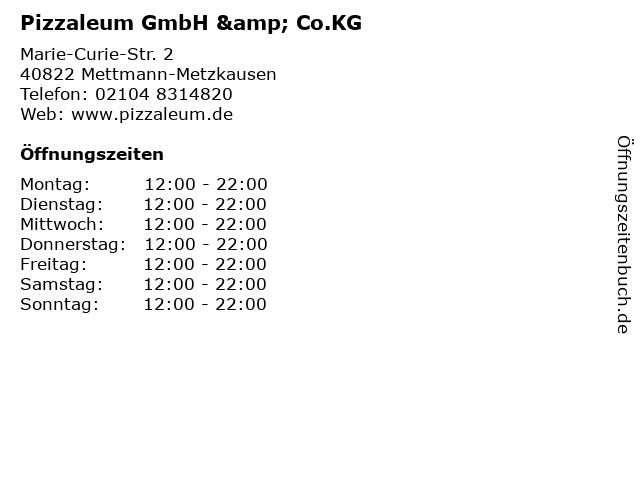 Pizzaleum GmbH & Co.KG in Mettmann-Metzkausen: Adresse und Öffnungszeiten