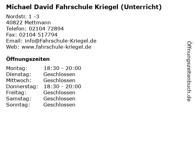 Michael David Fahrschule Kriegel (Unterricht) in Mettmann: Adresse und Öffnungszeiten