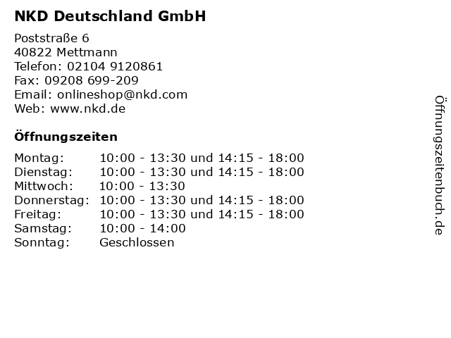 NKD Deutschland GmbH in Mettmann: Adresse und Öffnungszeiten
