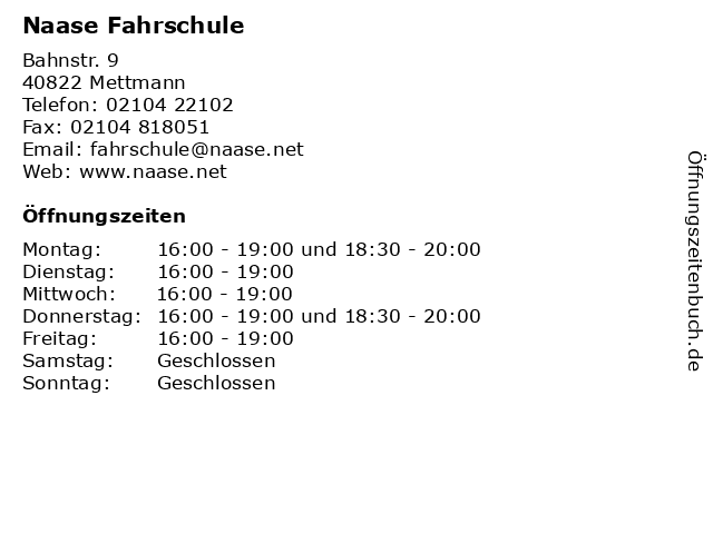 Naase Fahrschule in Mettmann: Adresse und Öffnungszeiten