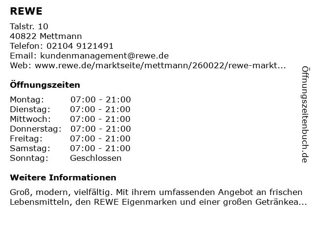 REWE Ihr Kaufpark in Mettmann: Adresse und Öffnungszeiten
