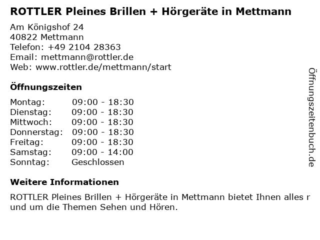 Pleines Fashion Optik und Hörakustik (Akustik) in Mettmann: Adresse und Öffnungszeiten