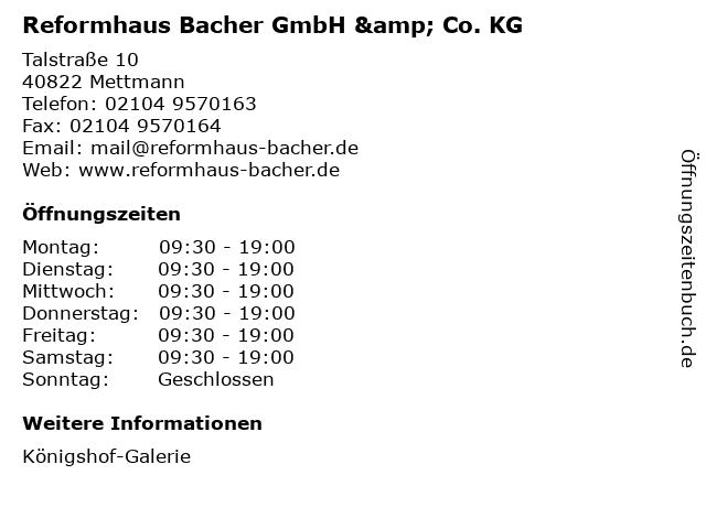 Reformhaus Bacher GmbH & Co. KG in Mettmann: Adresse und Öffnungszeiten