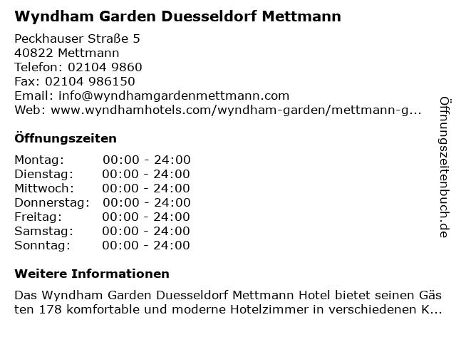Wyndham Garden Düsseldorf Mettmann in Mettmann: Adresse und Öffnungszeiten