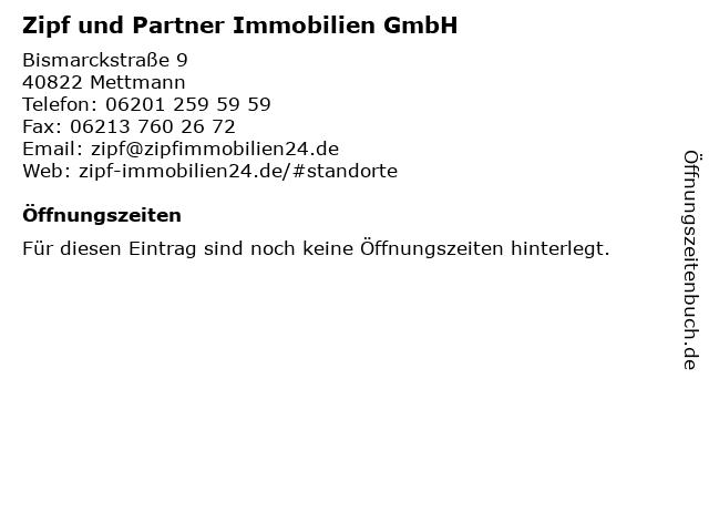Zipf und Partner Immobilien GmbH in Mettmann: Adresse und Öffnungszeiten