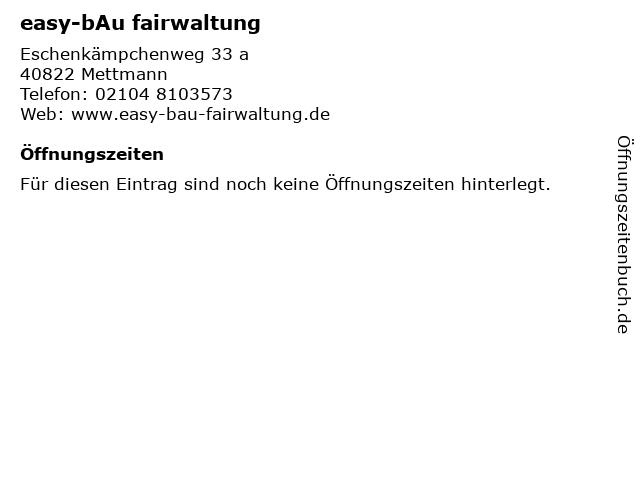 easy-bAu fairwaltung in Mettmann: Adresse und Öffnungszeiten