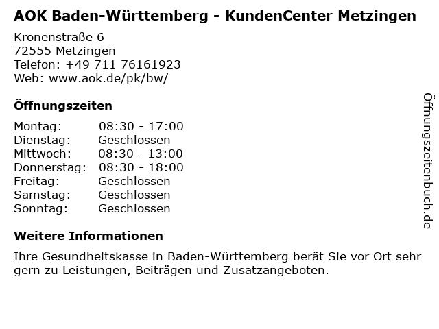 AOK Baden-Württemberg in Metzingen: Adresse und Öffnungszeiten