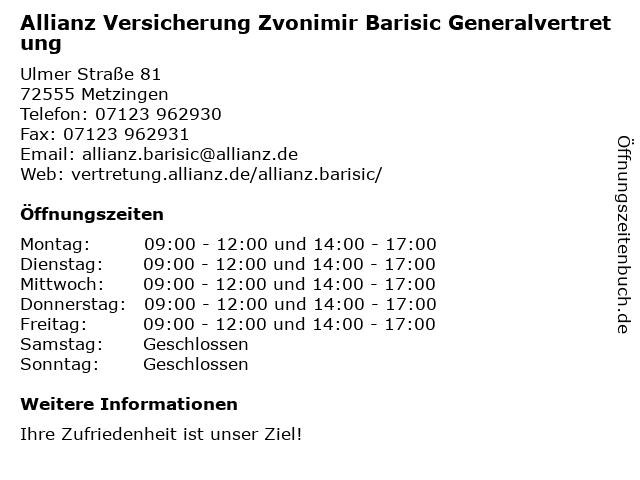 Allianz Versicherung Generalvertretung Zvonimir Barisic in Metzingen: Adresse und Öffnungszeiten