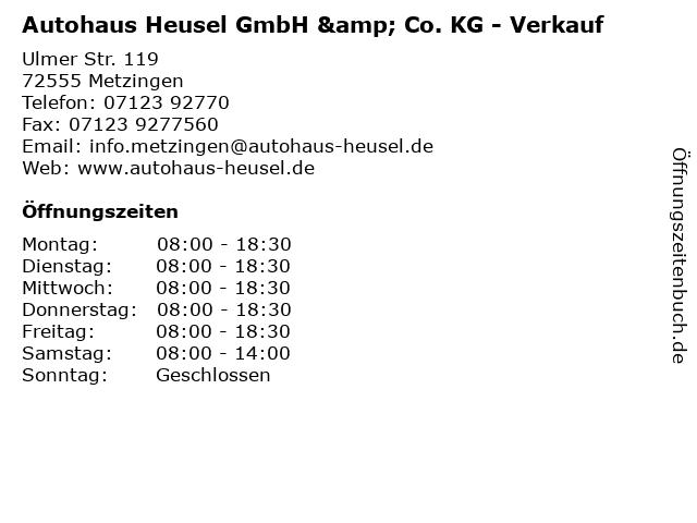 Autohaus Heusel GmbH & Co. KG - Verkauf in Metzingen: Adresse und Öffnungszeiten