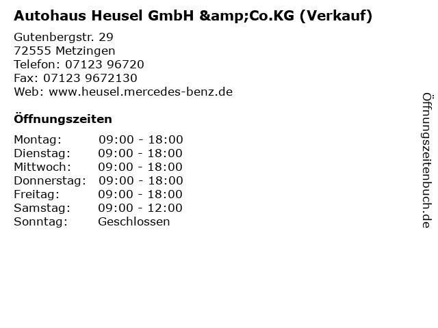 Autohaus Heusel GmbH &Co.KG (Verkauf) in Metzingen: Adresse und Öffnungszeiten
