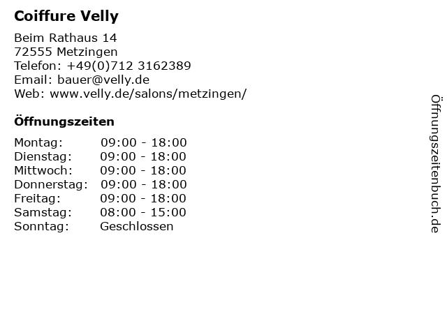 Coiffure Velly in Metzingen: Adresse und Öffnungszeiten