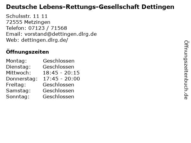Deutsche Lebens-Rettungs-Gesellschaft Dettingen in Metzingen: Adresse und Öffnungszeiten