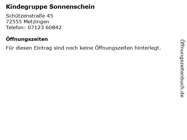 Kindegruppe Sonnenschein in Metzingen: Adresse und Öffnungszeiten
