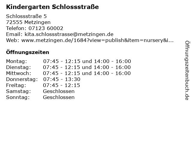 Kindergarten Schlossstraße in Metzingen: Adresse und Öffnungszeiten