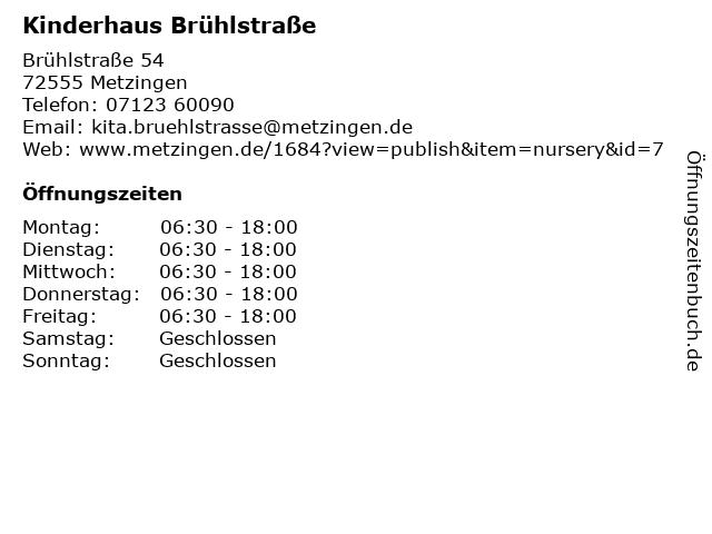 Kinderhaus Brühlstraße in Metzingen: Adresse und Öffnungszeiten
