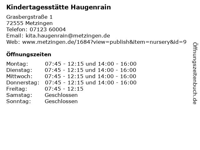 Kindertagesstätte Haugenrain in Metzingen: Adresse und Öffnungszeiten