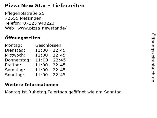 Pizza New Star - Lieferzeiten in Metzingen: Adresse und Öffnungszeiten