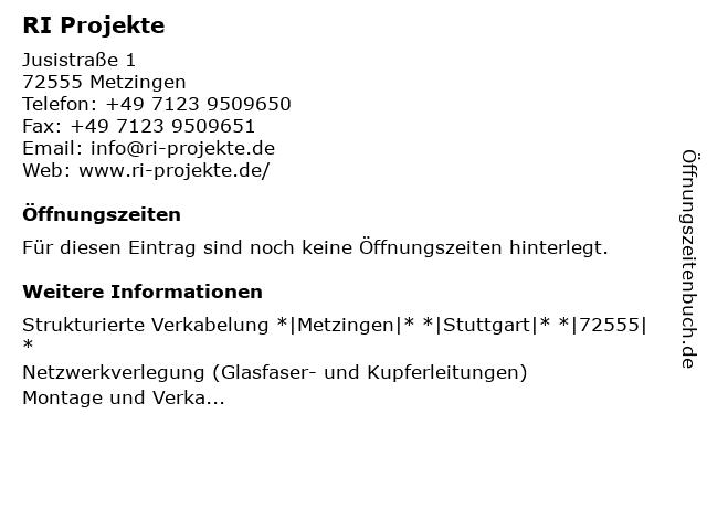 RI Projekte in Metzingen: Adresse und Öffnungszeiten