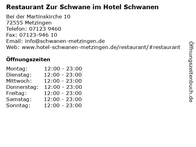Restaurant Zur Schwane im Hotel Schwanen in Metzingen: Adresse und Öffnungszeiten
