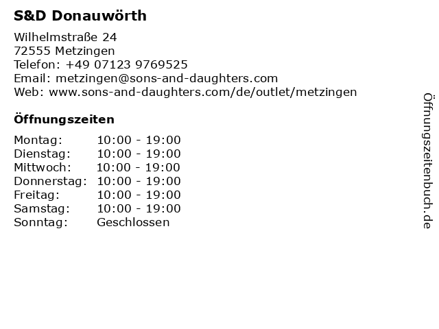 S&D Donauwörth in Metzingen: Adresse und Öffnungszeiten