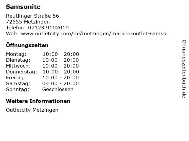 Samsonite in Metzingen: Adresse und Öffnungszeiten