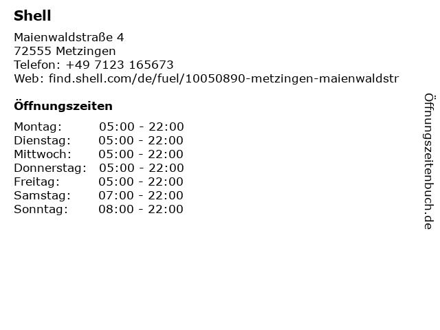 Shell Station in Metzingen: Adresse und Öffnungszeiten