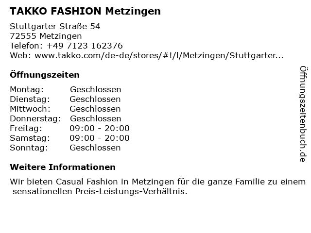 Takko Fashion in Metzingen: Adresse und Öffnungszeiten
