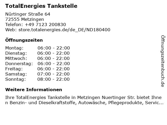 TOTAL Tankstelle in Metzingen: Adresse und Öffnungszeiten