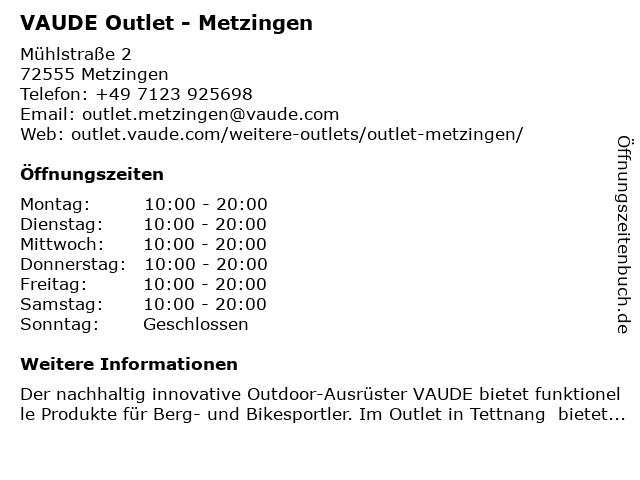 VAUDE Outlet - Metzingen in Metzingen: Adresse und Öffnungszeiten