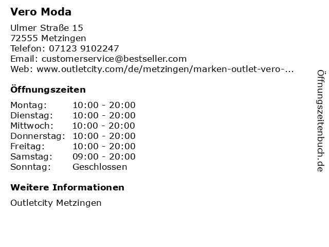 Vero Moda in Metzingen: Adresse und Öffnungszeiten