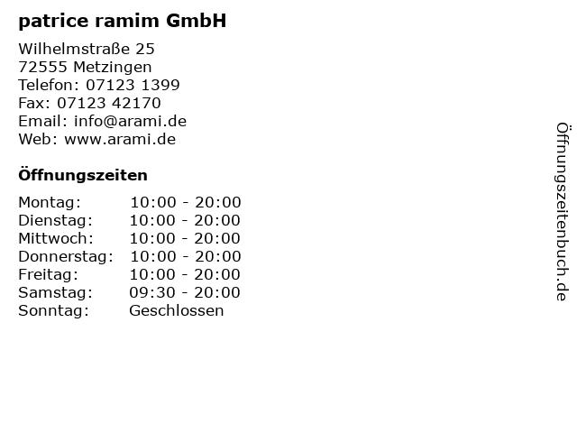 patrice ramim GmbH in Metzingen: Adresse und Öffnungszeiten