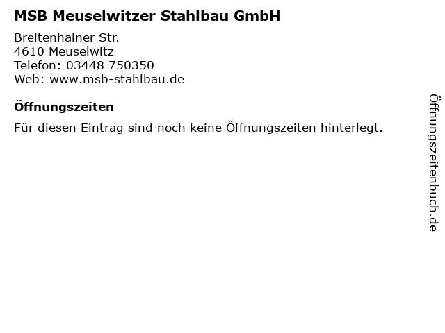 MSB Meuselwitzer Stahlbau GmbH in Meuselwitz: Adresse und Öffnungszeiten
