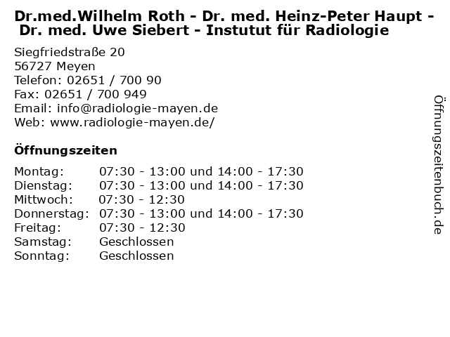Dr.med.Wilhelm Roth - Dr. med. Heinz-Peter Haupt - Dr. med. Uwe Siebert - Instutut für Radiologie in Meyen: Adresse und Öffnungszeiten