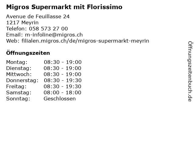 MIGROS Supermarkt in Meyrin: Adresse und Öffnungszeiten