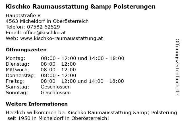 Kischko Raumausstattung & Polsterungen in Micheldorf in Oberösterreich: Adresse und Öffnungszeiten