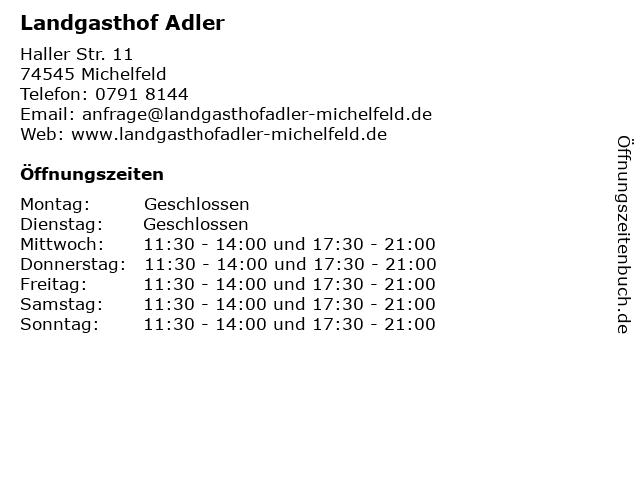 Landgasthof Adler in Michelfeld: Adresse und Öffnungszeiten