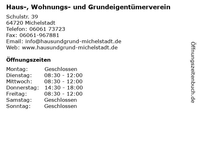 Haus-, Wohnungs- und Grundeigentümerverein in Michelstadt: Adresse und Öffnungszeiten