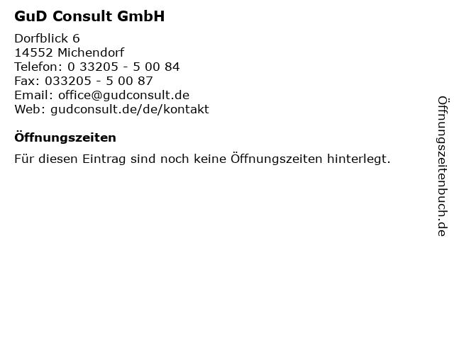 GuD Consult GmbH in Michendorf: Adresse und Öffnungszeiten
